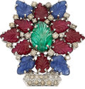 Estate Jewelry:Brooches - Pins, Multi-Stone, Colored Diamond, White Gold Clip-Brooch . ...