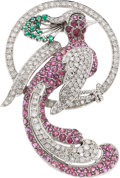 Estate Jewelry:Brooches - Pins, Ruby, Diamond, Emerald, White Gold Clip-Brooch . ...