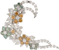 Estate Jewelry:Brooches - Pins, Diamond, Colored Diamond, Platinum Brooch. ...