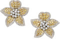 Estate Jewelry:Earrings, Diamond, Yellow Sapphire, White Gold Earrings. ...
