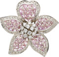 Estate Jewelry:Brooches - Pins, Diamond, Pink Sapphire, White Gold Brooch . ...