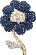 Estate Jewelry:Brooches - Pins, Sapphire, Diamond, Gold Clip-Brooch. ...