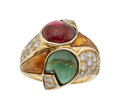 Estate Jewelry:Rings, Multi-Stone, Diamond, Gold Ring, Bvlgari. ...