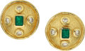 Estate Jewelry:Earrings, Emerald, Diamond, Gold Earrings, Jean Mahie. ...
