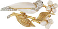 Estate Jewelry:Brooches - Pins, Diamond, Freshwater Cultured Pearl, Platinum, Gold Clip-Brooch, Ruser. ...