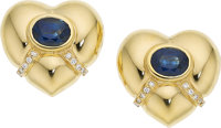 Sapphire, Diamond, Gold Earrings