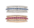 Estate Jewelry:Rings, Multi-Color Sapphire, Diamond, Gold Eternity Bands. ... (Total: 2 Items)