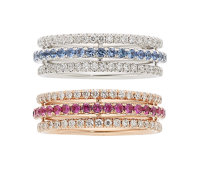 Multi-Color Sapphire, Diamond, Gold Eternity Bands ... (Total: 2 Items)