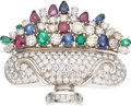 Estate Jewelry:Brooches - Pins, Diamond, Multi-Stone, White Gold Clip-Brooch. ...