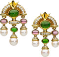 Estate Jewelry:Earrings, Diamond, Tourmaline, Cultured Pearl, Gold Earrings. ...