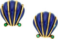 Estate Jewelry:Earrings, Emerald, Enamel, Gold Earrings, Schlumberger for Tiffany & Co. . ...