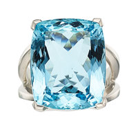 Aquamarine, Platinum Ring