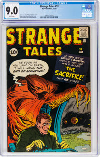 Strange Tales #91 (Marvel, 1961) CGC VF/NM 9.0 White pages