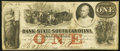 Obsoletes By State:South Carolina, Charleston, SC- Bank of the State of South Carolina $1 Apr. 19, 1862 Fine.. ...
