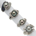 Estate Jewelry:Rings, Cultured Pearl, Diamond, Sapphire, White Gold Rings. ... (Total: 4 Items)