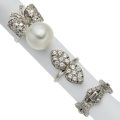 Estate Jewelry:Rings, South Sea Cultured Pearl, Diamond, Platinum, White Gold Rings. ... (Total: 3 Items)