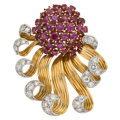 Estate Jewelry:Brooches - Pins, Ruby, Diamond, Platinum, Gold Clip-Brooch. ...
