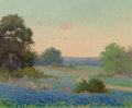 Fine Art - Painting, American, Porfirio Salinas (American, 1910-1973). Bluebonnets of Texas. Oil on board. 8 x 10 inches (20.3 x 25.4 cm). Signed lower...