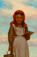 Fine Art - Painting, American, John George Brown (American, 1831-1913). Going to School, 1874. Oil on panel. 9 x 6 inches (22.9 x 15.2 cm). Signed and ...