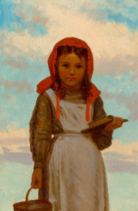 John George Brown (American, 1831-1913) Going to School, 1874 Oil on panel 9 x 6 inches (22.9 x 1