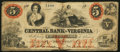 Obsoletes By State:Virginia, Staunton, VA- Central Bank of Virginia $5 Apr. 4, 1860 Very Good.. ...