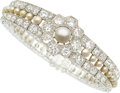 Estate Jewelry:Bracelets, Belle Epoque Cultured Pearl, Diamond, Platinum Bracelet, French. ...
