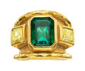 Estate Jewelry:Rings, Emerald, Colored Diamond, Gold Ring, Jean Mahie. ...