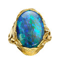 Estate Jewelry:Rings, Antique Black Opal, Gold Ring, Tiffany & Co. . ...