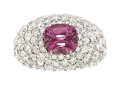Estate Jewelry:Rings, Burma Spinel, Diamond, White Gold Ring. ...