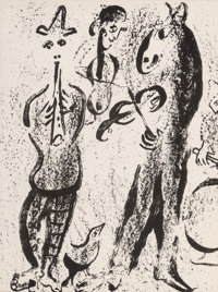 Marc Chagall (1887-1985) Itinerant Players, late 20th century Lithograph on paper 13-1/2 x 9-1/2