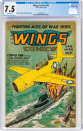 Golden Age (1938-1955):War, Wings Comics #56 (Fiction House, 1945) CGC VF- 7.5 Off-white pages....