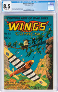 Golden Age (1938-1955):War, Wings Comics #51 (Fiction House, 1944) CGC VF+ 8.5 Off-white pages....