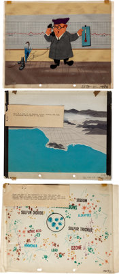 Los Angeles Pollution Film Storyboards and Production Cel Key Master Setups Group (Graphic Films, c. 1960s).... (Total:...
