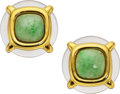 Estate Jewelry:Earrings, Jadeite Jade, Rock Crystal Quartz, Gold Earrings, Aldo Cipullo. ...