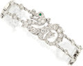 Estate Jewelry:Bracelets, Diamond, Emerald, White Gold Bracelet, Cartier, French . ...