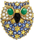Estate Jewelry:Brooches - Pins, Multi-Stone, Diamond, Gold Brooch, Van Cleef & Arpels. ...