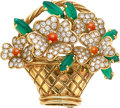 Estate Jewelry:Brooches - Pins, Diamond, Coral, Chalcedony, Gold Clip-Brooch, Van Cleef & Arpels, French. ...
