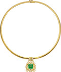 Estate Jewelry:Necklaces, Colombian Emerald, Diamond, Gold Pendant-Necklace. ...
