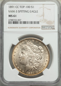 1891-CC $1 Spitting Eagle, VAM-3, MS61 NGC. A Top 100 Variety. NGC Census: (529/2996). PCGS Population: (24/461). MS61...