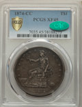 1874-CC T$1 XF45 PCGS. CAC. PCGS Population: (34/332 and 0/6+). NGC Census: (7/234 and 0/3+). CDN: $825 Whsle. Bid for p...