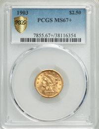 1903 $2 1/2 MS67+ PCGS. PCGS Population: (83/1 and 11/0+). NGC Census: (88/6 and 5/0+). MS67. Mintage 201,000