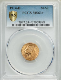 1914-D $2 1/2 MS63+ PCGS. PCGS Population: (1336/852 and 18/100+). NGC Census: (1493/1065 and 19/29+). CDN: $750 Whsle...