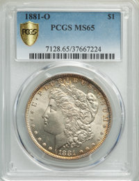 1881-O $1 MS65 PCGS. PCGS Population: (821/43 and 93/8+). NGC Census: (469/9 and 5/0+). CDN: $775 Whsle. Bid for problem...