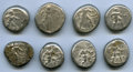 Ancients:Ancient Lots , Ancients: ANCIENT LOTS. Greek. Pamphylia. Aspendus. Ca. mid-5th century BC. Lot of eight (8) AR staters. VG-Fine, test...