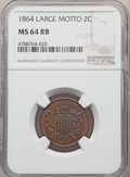 1864 2C Large Motto MS64 Red and Brown NGC. NGC Census: (607/684). PCGS Population: (1172/477). CDN: $250 Whsle. Bid for...