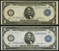 Large Size:Federal Reserve Notes, Fr. 863a $5 1914 Federal Reserve Note Two Examples Very Fine.. ... (Total: 2 notes)