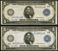 Large Size:Federal Reserve Notes, Fr. 851a $5 1914 Federal Reserve Note Fine-Very Fine;. Fr. 851b $5 1914 Federal Reserve Note Fine-Very Fine.. ... (Total: 2 notes)