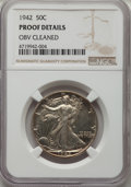 Proof Walking Liberty Half Dollars, 1942 50C -- Obverse Cleaned -- NGC Details. Proof. NGC Census: (3/4348). PCGS Population: (13/6588). PR60. Mintage 21,120....