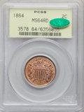 Two Cent Pieces, 1864 2C Large Motto MS64 Red PCGS. CAC. PCGS Population: (297/345). NGC Census: (106/159). MS64. Mintage 19,847,500. ...