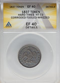 1837 TOKEN Half Cent Worth of Pure Copper -- Corroded, Tooled, Whizzed -- HT-73 ANACS. XF40 Details
